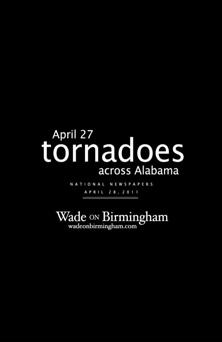 April 27, 2011, tornadoes - national newspaper front pages from April 28