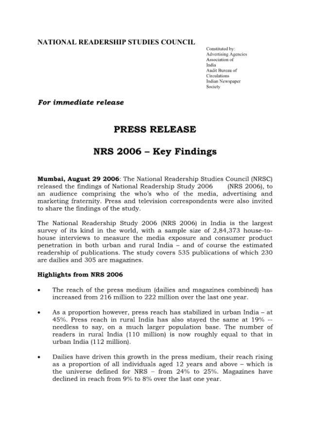 National Readership Studies India - NRS - 2006