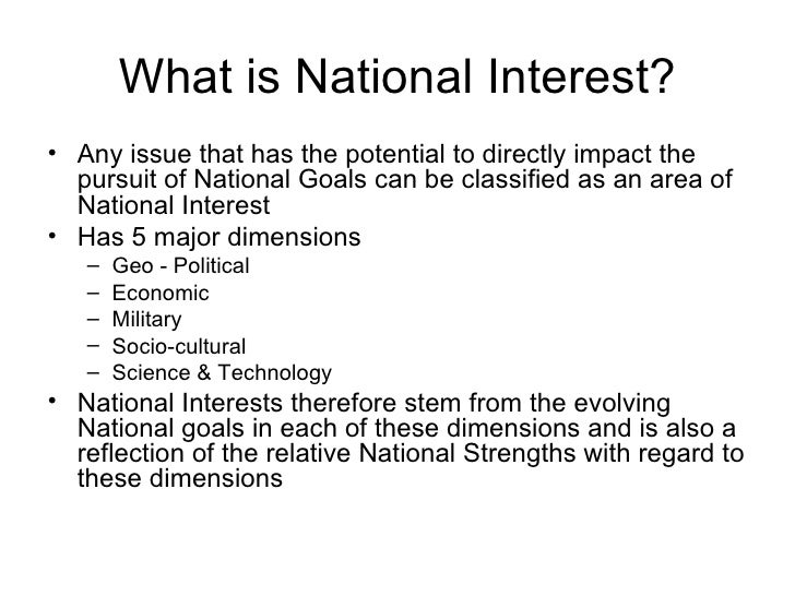 Pursuit of national interest essay