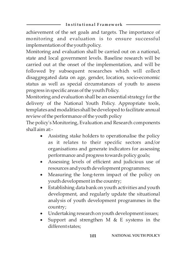 National Youth Policy of Nigeria- Revised 2009 (Federal Ministry Of Youth Development)