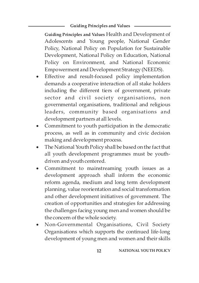 Guiding Principles and Values Health and Development of Adolescents and Young people, National Gender Policy, National Pol...