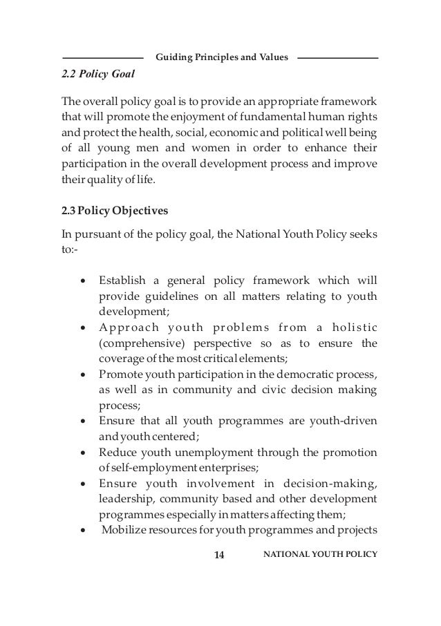 2.2 Policy Goal The overall policy goal is to provide an appropriate framework that will promote the enjoyment of fundamen...