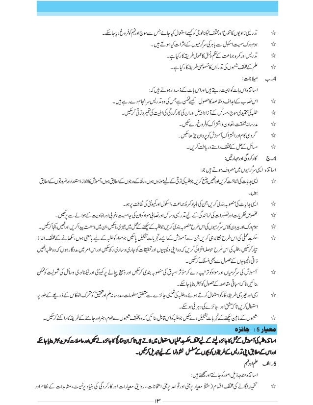 National Professional Standards For Teachers Urdu