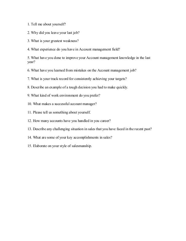 National account manager interview questions and answers