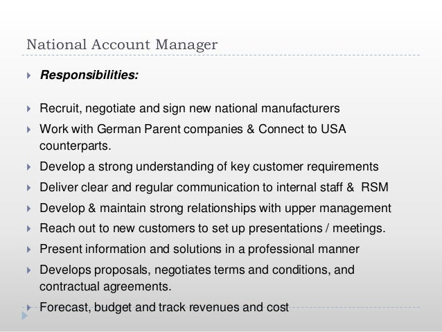 National Account Manager Plan
