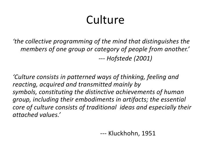 National And Organisational Culture