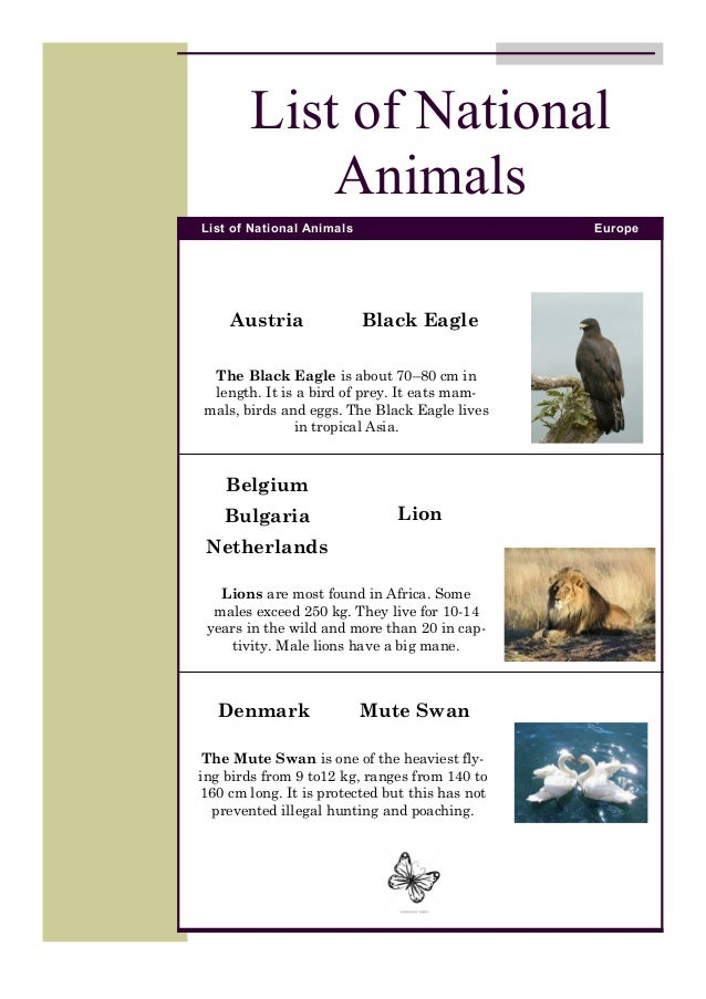 National Animals Booklet