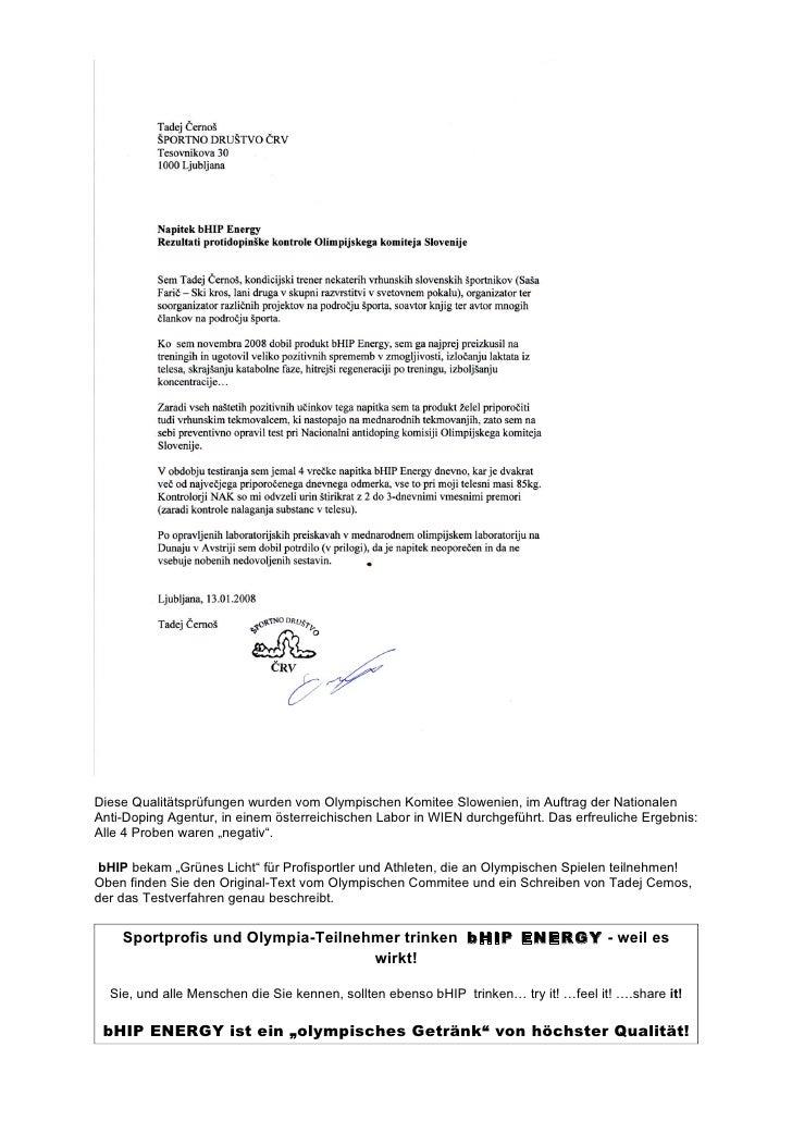 National Anti Doping Commitee - bHip Energy Slide 3