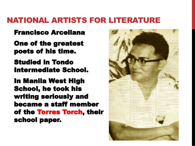 art form literature artist and title of the art National Artists for Literature