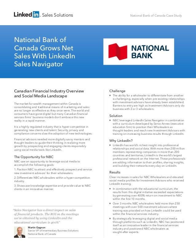 Sales Solutions  National Bank of Canada Case Study  National Bank of Canada Grows Net Sales With LinkedIn Sales Navigator...