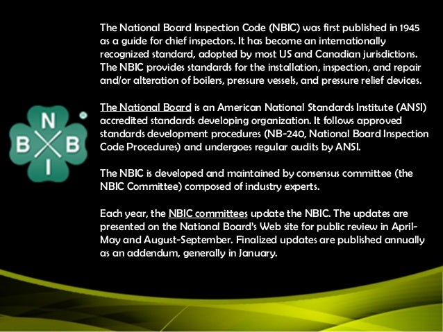 national board of boilers and pressure The board shall by resolution adopt published codifications including, but not limited to, the boiler and pressure vessel code of the american society of mechanical engineers, the national.