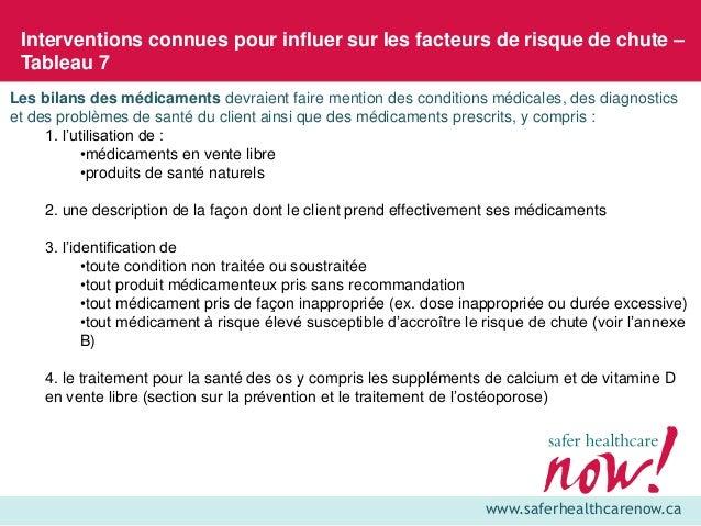 www.saferhealthcarenow.ca Interventions connues pour influer sur les facteurs de risque de chute – Tableau 7 Les bilans de...