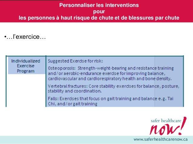 www.saferhealthcarenow.ca Personnaliser les interventions pour les personnes à haut risque de chute et de blessures par ch...