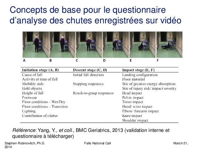 Stephen Robinovitch, Ph.D. Falls National Call March 21, 2014 Concepts de base pour le questionnaire d'analyse des chutes ...
