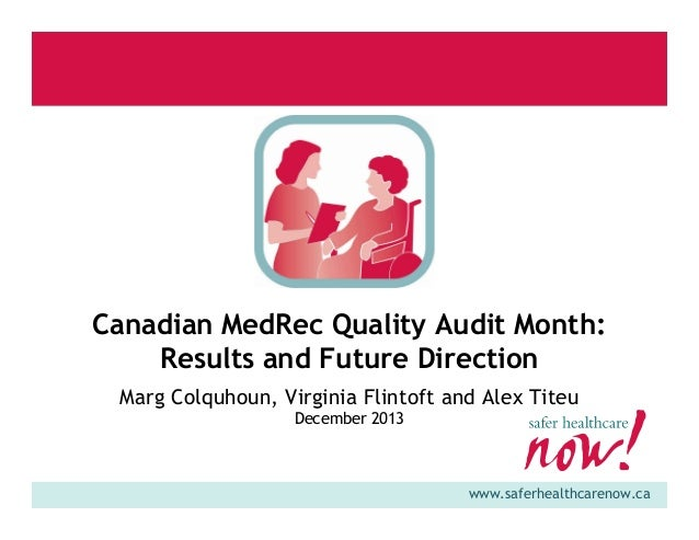 Canadian MedRec Quality Audit Month: Results and Future Direction Marg Colquhoun, Virginia Flintoft and Alex Titeu Decembe...