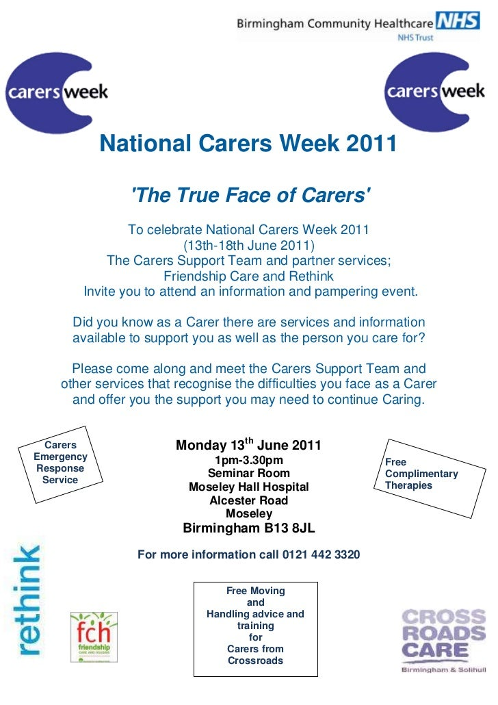 National Carers Week 2011<br />'The True Face of Carers'<br />To celebrate National Carers Week 2011<br />(13th-18th June ...