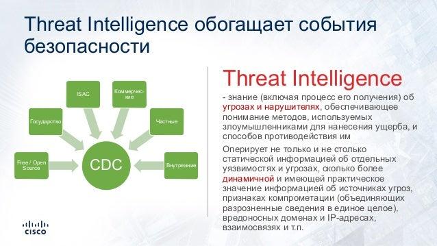Threat Intelligence обогащает события безопасности - знание (включая процесс его получения) об угрозах и нарушителях, обес...