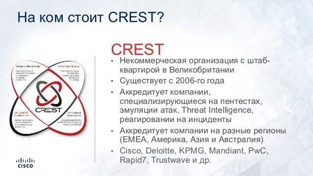 На ком стоит CREST? • Некоммерческая организация с штаб- квартирой в Великобритании • Существует с 2006-го года • Аккредит...