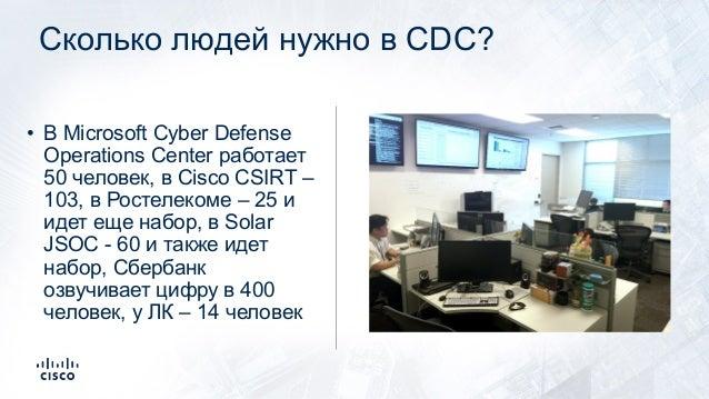 Сколько людей нужно в CDC? • В Microsoft Cyber Defense Operations Center работает 50 человек, в Cisco CSIRT – 103, в Росте...