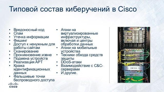 Типовой состав киберучений в Cisco • Вредоносный код • Спам • Утечка информации • Фишинг • Доступ к ненужным для работы са...