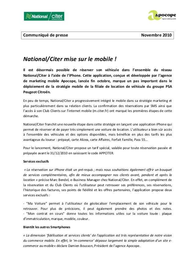 Communiqué de presse Novembre 2010 National/Citer mise sur le mobile ! Il est désormais possible de réserver son véhicule ...