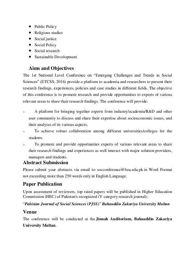 1st National conference on emerging trends and challenges in social sciences, B.Z.U Multan Slide 3