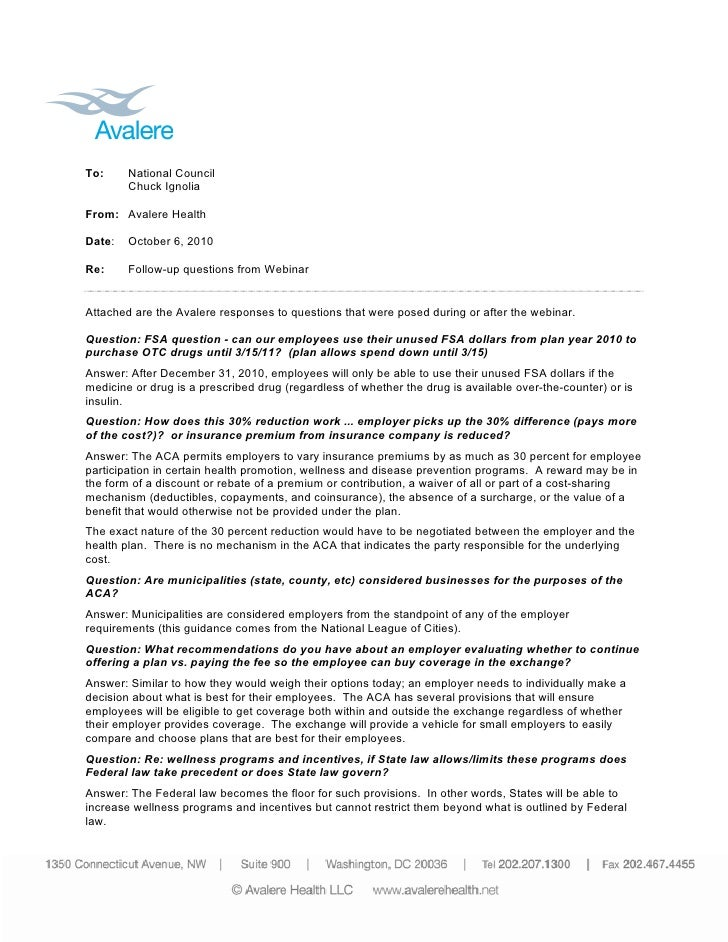 To:     National Council         Chuck Ignolia  From: Avalere Health  Date:   October 6, 2010  Re:     Follow-up questions...