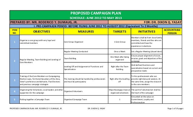 Seminar on national development program campaign plan for Campaign schedule template