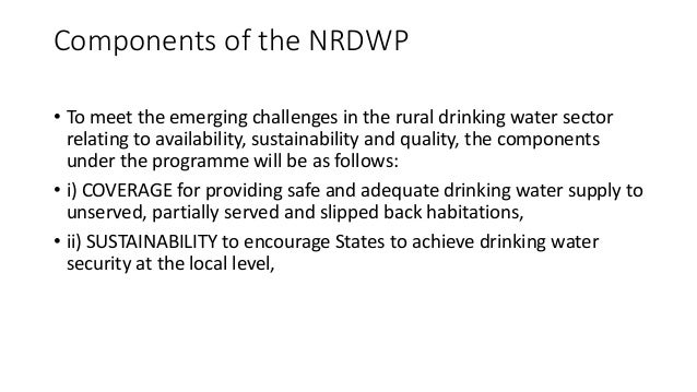 national drinking water University of agricultural sciences national drinking water  mission presented by : manohara h m palb 4090 dept.