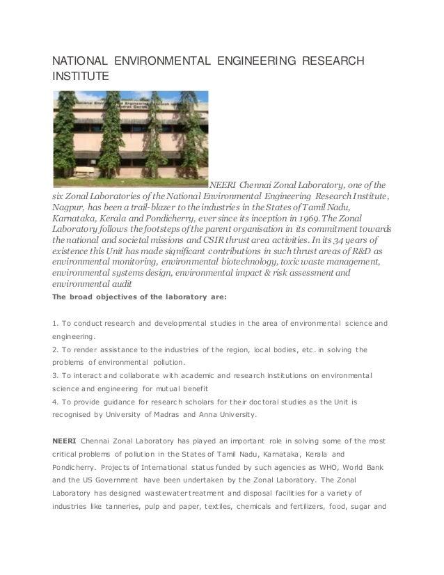 NATIONAL ENVIRONMENTAL ENGINEERING RESEARCH INSTITUTE NEERI Chennai Zonal Laboratory, one of the six Zonal Laboratories of...