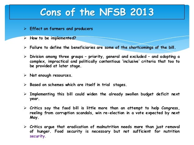 Essay on national food security bill 2013