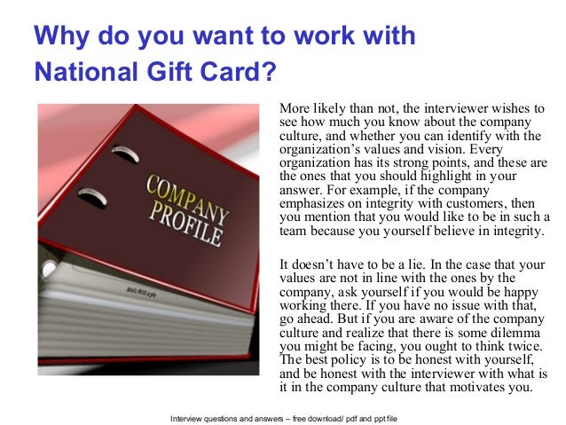 National gift card interview questions and answers
