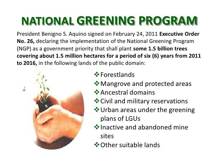 national greening program a program for History mission, vision and program thrusts regional profile organization office directory location map enr services management services national greening program.