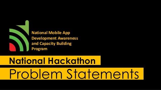 National Hackathon Problem Statements