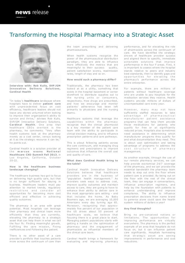 """Interview with: Rob Kulis, SVP/GM Innovative Delivery Solutions, Cardinal Health """"In today's healthcare landscape where ho..."""