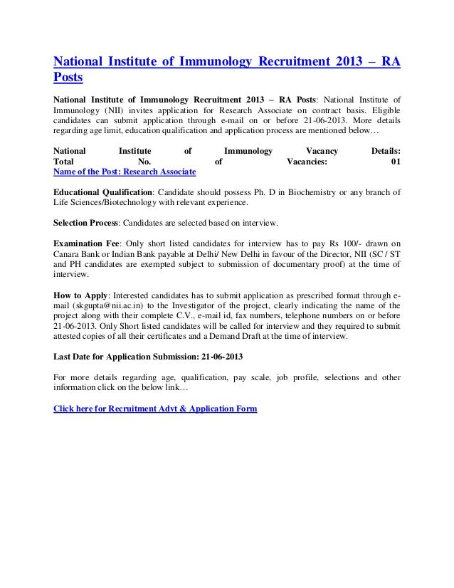 National Institute of Immunology Recruitment 2013 – RAPostsNational Institute of Immunology Recruitment 2013 – RA Posts: N...