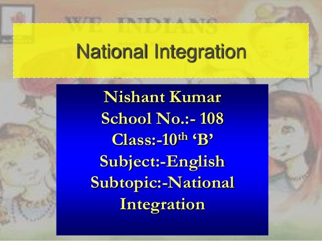 role of individual in national integration essay