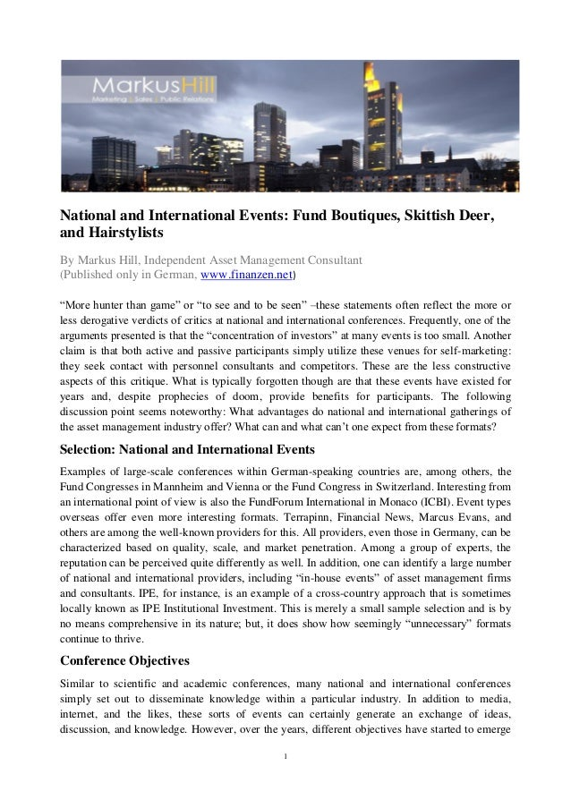 1National and International Events: Fund Boutiques, Skittish Deer,and HairstylistsBy Markus Hill, Independent Asset Manage...