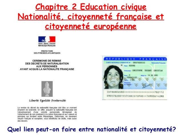 Chapitre 2 Education civique Nationalité, citoyenneté française et citoyenneté européenne  Quel lien peut-on faire entre n...