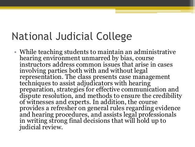 National Judicial College Offers Class on Fair ...
