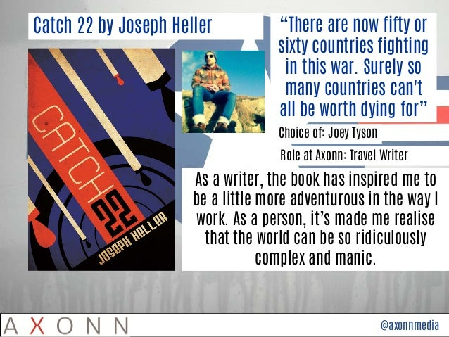 the function of themes in catch 22 by joseph heller Joseph heller  critical essays major themes in catch-22  with a novel as  richly ambiguous as catch-22, we look to themes as guides  although no one  ever actually sees catch-22, the entire military complex functions under its  authority.