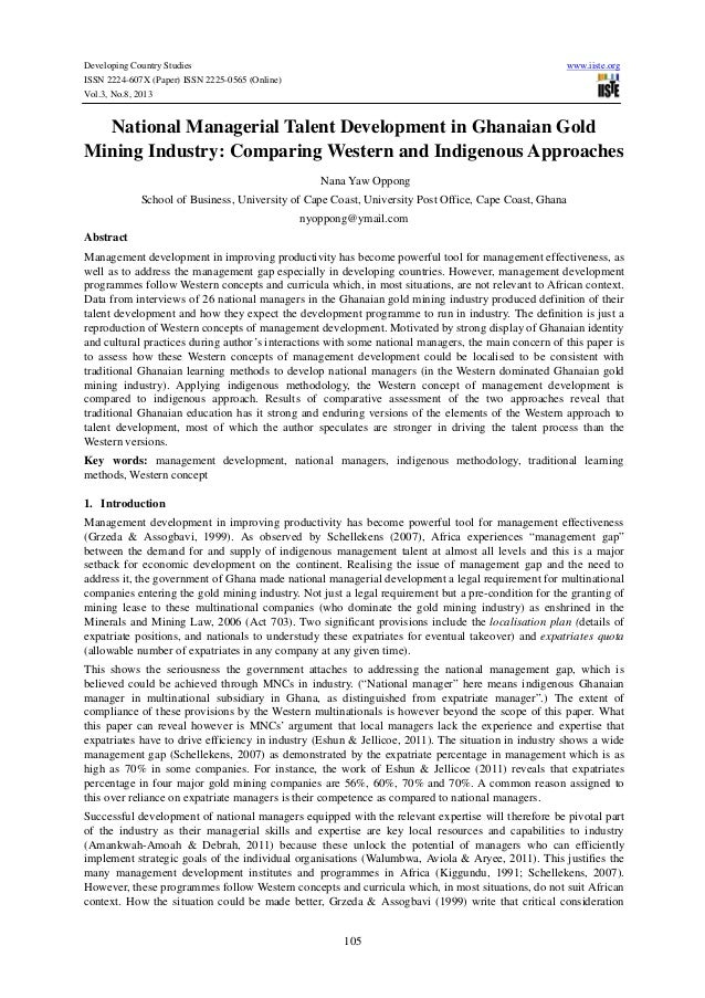 Developing Country Studies www.iiste.org ISSN 2224-607X (Paper) ISSN 2225-0565 (Online) Vol.3, No.8, 2013 105 National Man...