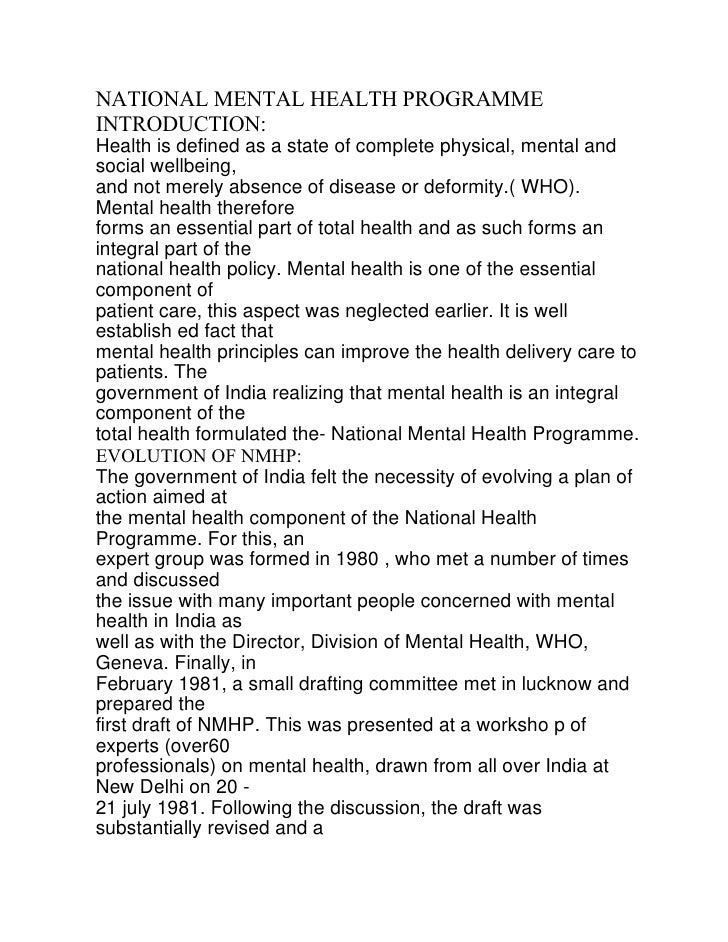 NATIONAL MENTAL HEALTH PROGRAMMEINTRODUCTION:Health is defined as a state of complete physical, mental andsocial wellbeing...