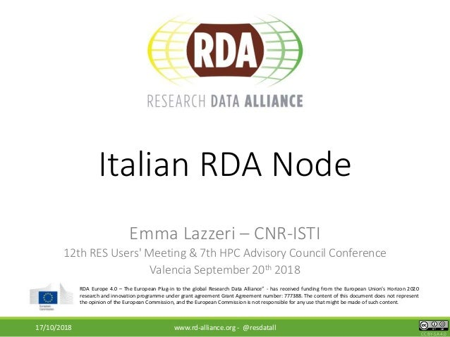 "CC BY-SA 4.0 RDA Europe 4.0 – The European Plug-in to the global Research Data Alliance"" - has received funding from the E..."
