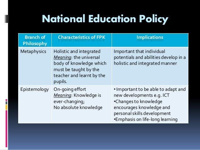 national philosophy of education Teacher professionalism 1 contents chapter 1: philosophy of education 3 • implications of the national philosophy of education and the philosophy of teacher.