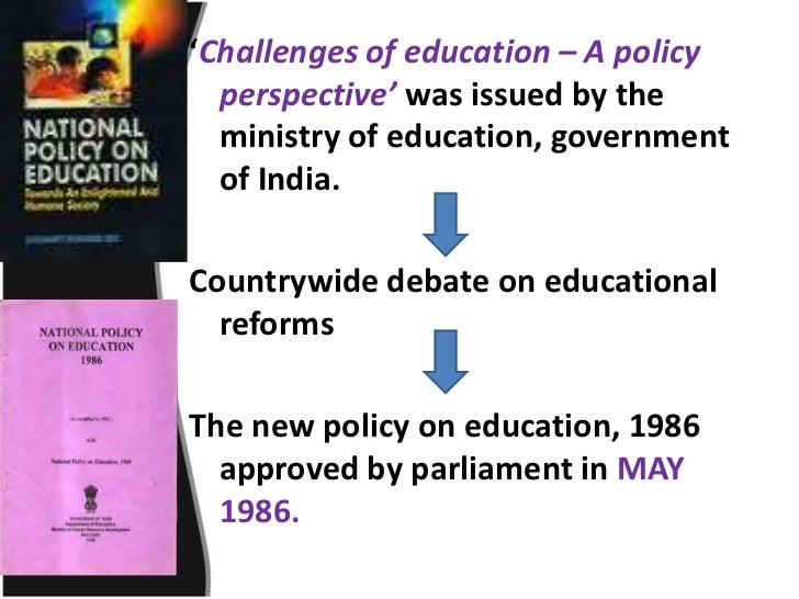 national policy on education National education policy act 27 of 1996 g n 695 published in government gazette 22512 dated 26 july 2001 policy on whole-school evaluation i, kader asmal, minister of education, hereby determine national policy in.
