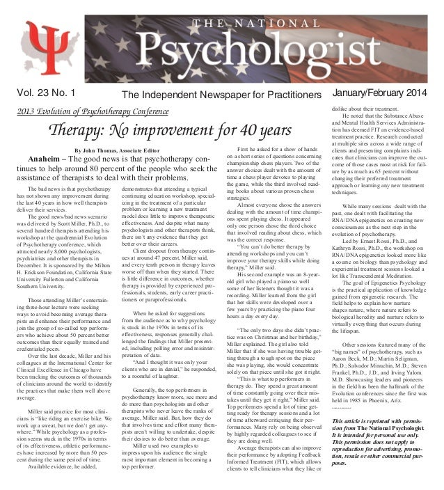 2013 Evolution of Psychotherapy Conference Therapy: No improvement for 40 years The Independent Newspaper for Practitioner...
