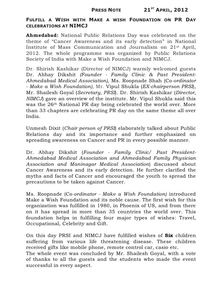 PRESS NOTE           21ST APRIL, 2012FULFILL   WISH WITH MAKE          A                     A WISH   FOUNDATION     ON   ...