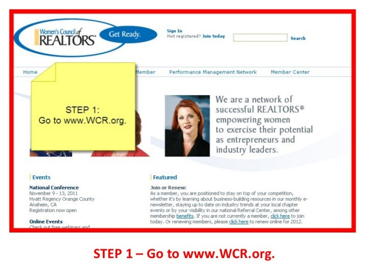STEP 1 – Go to www.WCR.org.