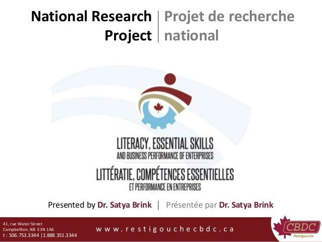 National Research Project 41, rue Water Street Campbellton, NB E3N 1A6 t : 506.753.3344 |1.888.351.3344 w w w . r e s t i ...